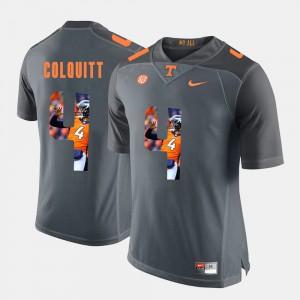Tennessee Volunteers #4 Mens Britton Colquitt Jersey Grey Pictorial Fashion Stitch 831137-408