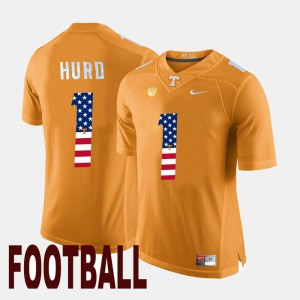 UT #1 For Men's Jalen Hurd Jersey Orange US Flag Fashion High School 970507-574