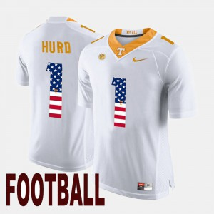 Tennessee Volunteers #1 For Men's Jalen Hurd Jersey White College US Flag Fashion 988697-708