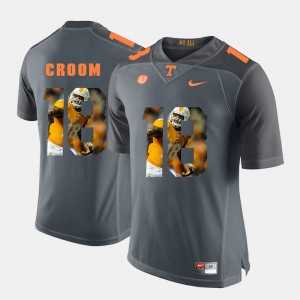 Tennessee #18 Men Jason Croom Jersey Grey Stitched Pictorial Fashion 327119-375