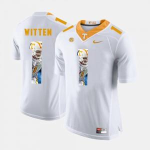 UT #1 Mens Jason Witten Jersey White Stitch Pictorial Fashion 728906-538
