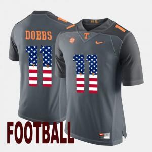 TN VOLS #11 Men Joshua Dobbs Jersey Gray University US Flag Fashion 711977-711
