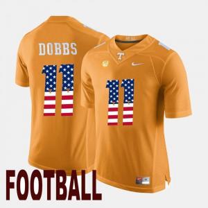 UT Volunteer #11 Mens Joshua Dobbs Jersey Orange University US Flag Fashion 483424-429