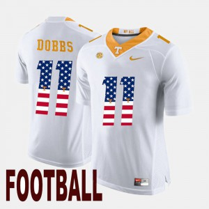 University Of Tennessee #11 For Men's Joshua Dobbs Jersey White Embroidery US Flag Fashion 763606-563