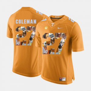 UT #27 Men Justin Coleman Jersey Orange Player Pictorial Fashion 841861-524
