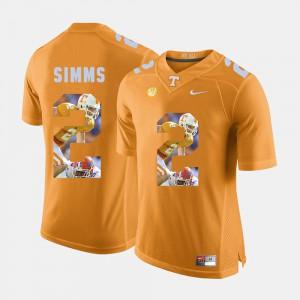TN VOLS #2 Men Matt Simms Jersey Orange Official Pictorial Fashion 942518-544