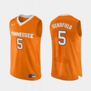 UT Volunteer #5 For Men Admiral Schofield Jersey Orange College Basketball Authentic Performace Stitch 525812-845