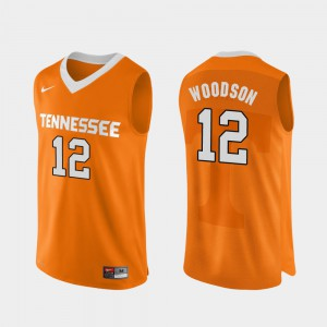 Tennessee Volunteers #12 For Men's Brad Woodson Jersey Orange Stitch Authentic Performace College Basketball 429090-157