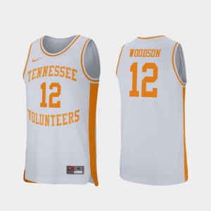 Tennessee Volunteers #12 Men Brad Woodson Jersey White College Basketball Retro Performance Alumni 411515-333
