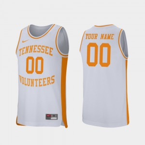Tennessee Vols #00 Mens Custom Jersey White College College Basketball Retro Performance 427657-590