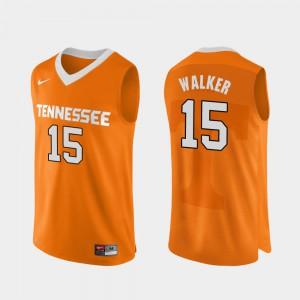 VOL #15 For Men Derrick Walker Jersey Orange University College Basketball Authentic Performace 464666-657