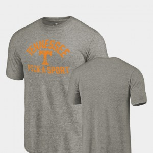 Tennessee Volunteers Mens T-Shirt Gray Tri-Blend Distressed Pick-A-Sport Stitched 641077-550