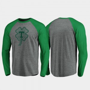Tennessee Vols For Men T-Shirt Heathered Gray University Raglan Long Sleeve Celtic Charm St. Patrick's Day 999531-816