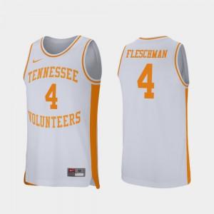 UT #4 For Men's Jacob Fleschman Jersey White College Basketball Retro Performance College 394425-750