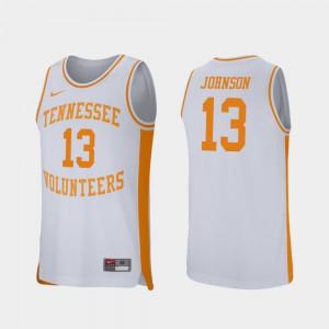 Tennessee #13 For Men Jalen Johnson Jersey White High School College Basketball Retro Performance 792589-948