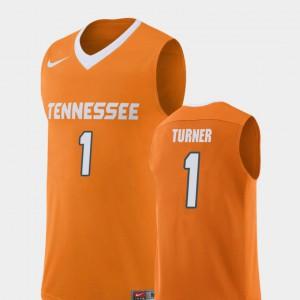 Tennessee Volunteers #1 For Men's Lamonte Turner Jersey Orange High School College Basketball Replica 568814-279
