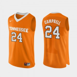 UT #24 Men's Lucas Campbell Jersey Orange NCAA Authentic Performace College Basketball 556537-959