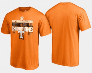 Vols For Men's T-Shirt Tennessee Orange Embroidery Basketball Regular Season 2018 SEC Champions 279521-831