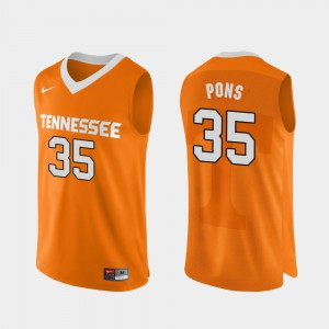 UT VOL #35 Mens Yves Pons Jersey Orange College Basketball Authentic Performace Stitched 511430-470