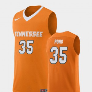 UT #35 Men's Yves Pons Jersey Orange Embroidery College Basketball Replica 518491-793