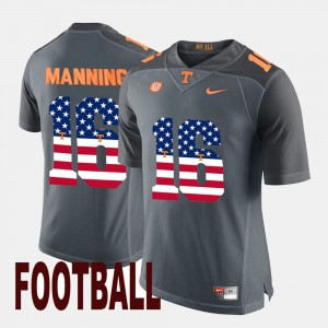 Tennessee #16 For Men Peyton Manning Jersey Gray US Flag Fashion Player 584916-638