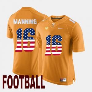 Vols #16 For Men's Peyton Manning Jersey Orange NCAA US Flag Fashion 331691-692