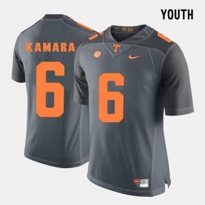 Tennessee #6 Kids Alvin Kamara Jersey Grey Stitch College Football 675833-796
