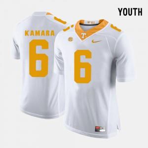 UT VOL #6 Youth(Kids) Alvin Kamara Jersey White Stitch College Football 205016-600
