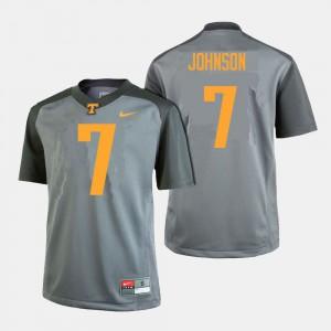 VOL #7 For Men Brandon Johnson Jersey Gray College Football NCAA 760376-907
