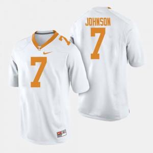 UT VOLS #7 For Men's Brandon Johnson Jersey White Stitched College Football 710205-580