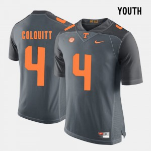 Tennessee #4 Youth(Kids) Britton Colquitt Jersey Grey College Football Embroidery 291747-792