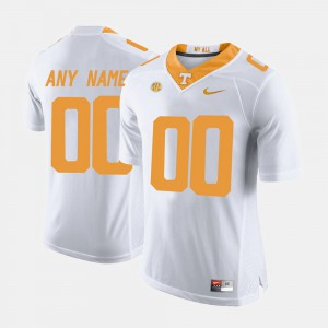 University Of Tennessee #00 Men Customized Jersey White University College Limited Football 825732-765