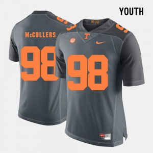 VOL #98 For Kids Daniel McCullers Jersey Grey Stitched College Football 595515-431