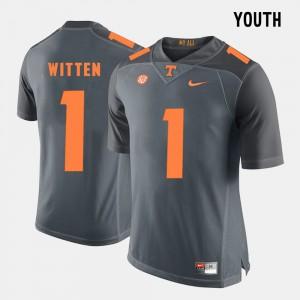 Vols #1 Youth Jason Witten Jersey Grey Stitch College Football 283120-555