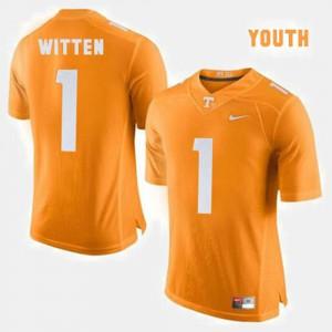 Tennessee Vols #1 Youth(Kids) Jason Witten Jersey Orange Stitch College Football 149572-559