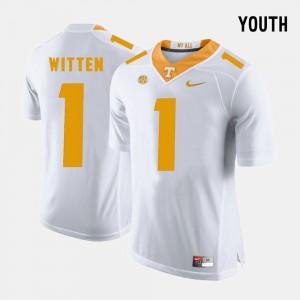 Tennessee Vols #1 Kids Jason Witten Jersey White University College Football 888422-576