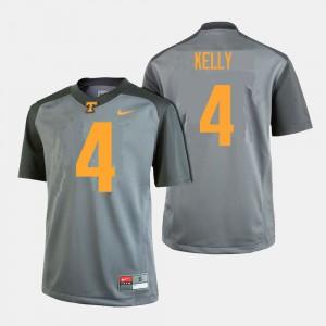 VOL #4 Men's John Kelly Jersey Gray College College Football 852329-391