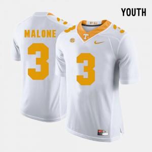 UT #3 Youth(Kids) Josh Malone Jersey White Stitched College Football 947274-203