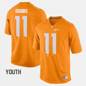 Tennessee Volunteers #11 Youth Joshua Dobbs Jersey Orange College Football Official 232634-495