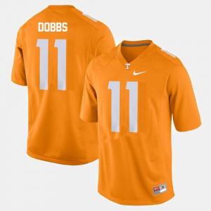 University Of Tennessee #11 Men's Joshua Dobbs Jersey Orange High School College Football 557946-841