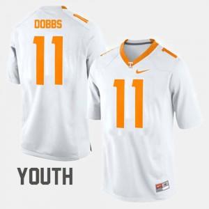 Tennessee Volunteers #11 Kids Joshua Dobbs Jersey White University College Football 933470-136