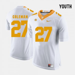 Tennessee #27 Youth(Kids) Justin Coleman Jersey White Official College Football 520077-829