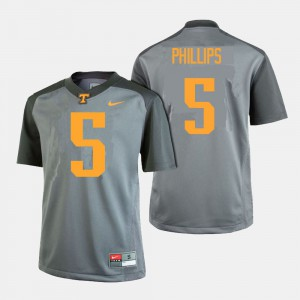 UT VOL #5 Mens Kyle Phillips Jersey Gray College Football Official 758678-493