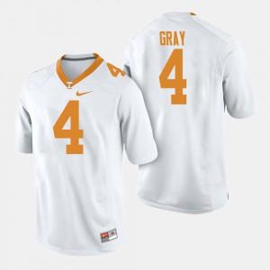 TN VOLS #4 For Men's Maleik Gray Jersey White Stitch College Football 639230-534