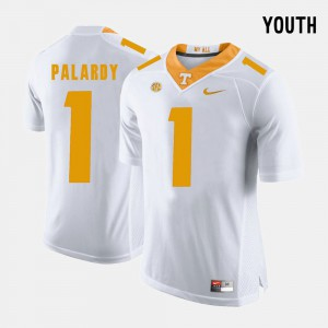 Vols #1 Youth(Kids) Michael Palardy Jersey White NCAA College Football 883687-889