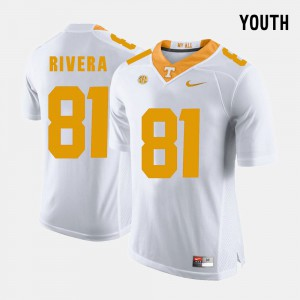 Tennessee #81 Youth Mychal Rivera Jersey White College Football Embroidery 479839-947