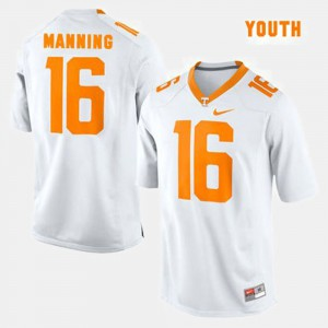 University Of Tennessee #16 Youth Peyton Manning Jersey White University College Football 198396-320