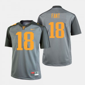UT VOL #18 Men's Princeton Fant Jersey Gray Embroidery College Football 289498-972