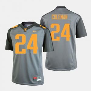 UT VOLS #24 Men Trey Coleman Jersey Gray College Football Stitch 687169-663