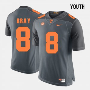 VOL #8 Youth(Kids) Tyler Bray Jersey Grey College Football Official 983058-364